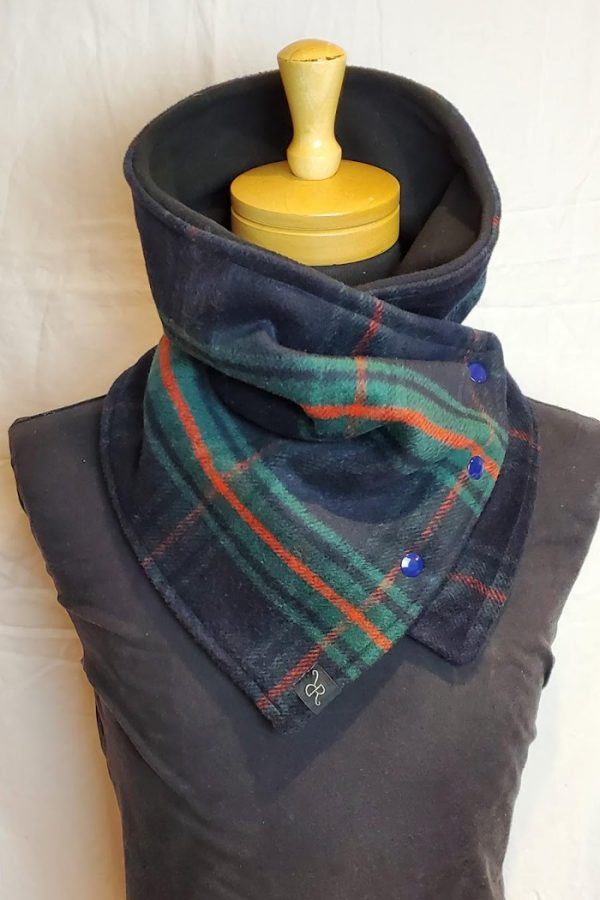 blanket cowl blue green english tartan wool polyester blend