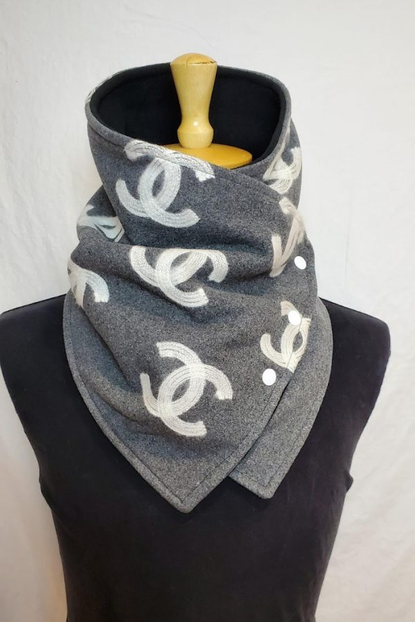 blanket cowl gray chanel wool cashmere